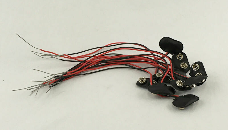 """9V Battery Snap with 8"""" Leads - 10 PIECE LOT"""
