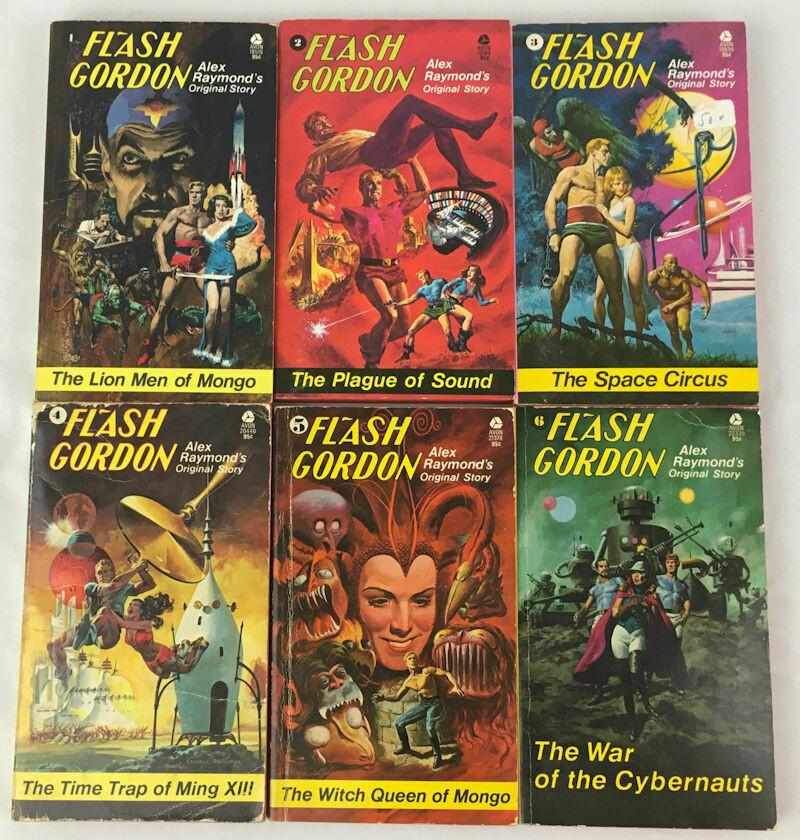 Complete Set 6 PC LOT Original Flash Gordon Novels by Alex Raymond PB 1974-1975 First