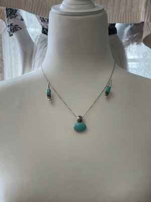 Turquoise Earrings and Necklace Set, 925 Sterling Silver