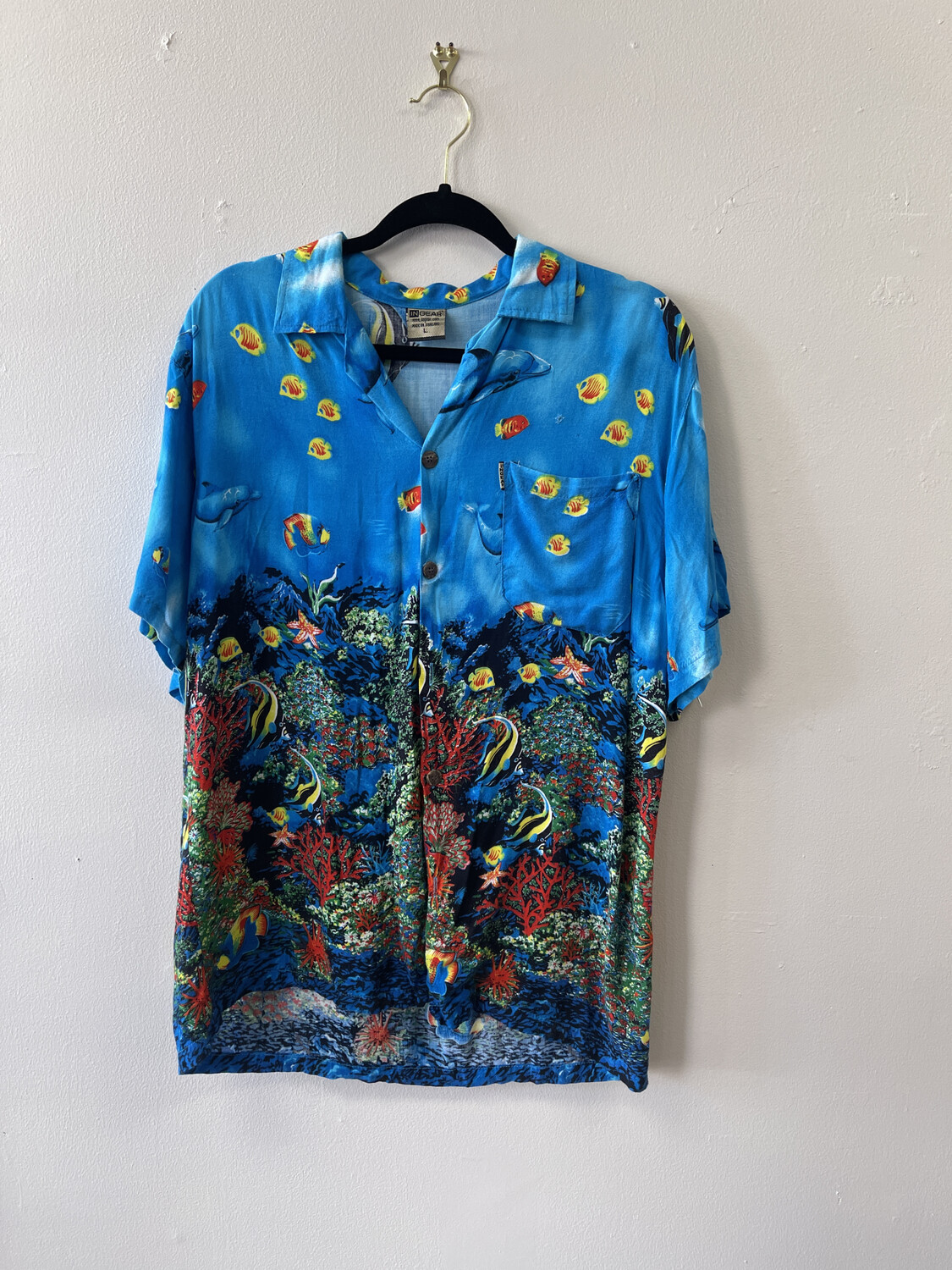 In Gear Coral Reef Tropical Shirt, Size L