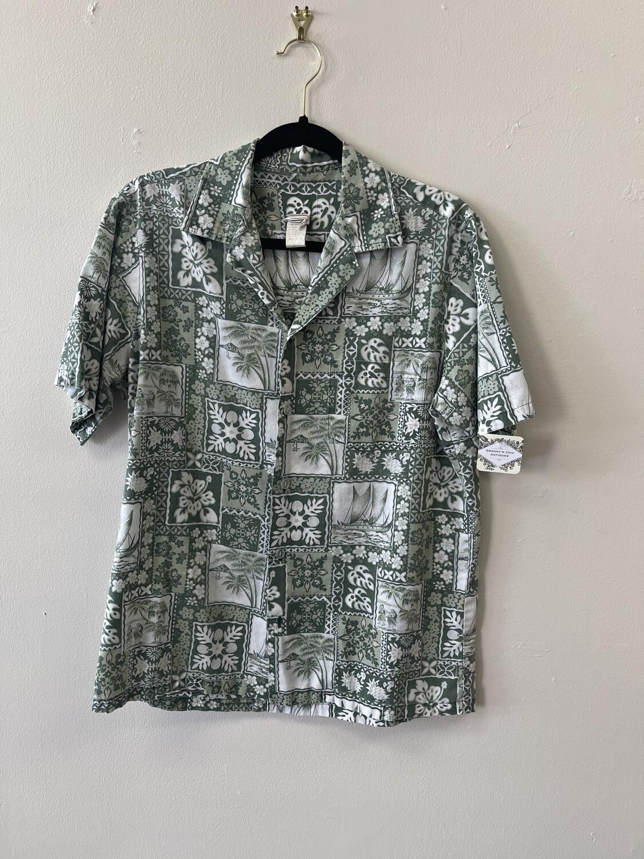 Green Vintage Tropical Shirt, Size M