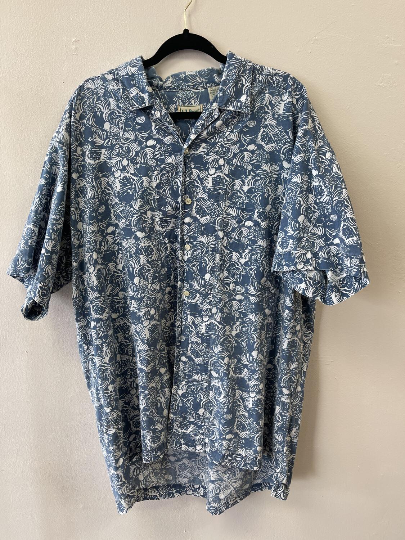 L L Bean Blue Tropical Shirt, Size XL Regular