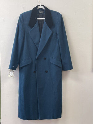 Vintage Double-Breasted Loring Coat with Blue Velveteen Collar