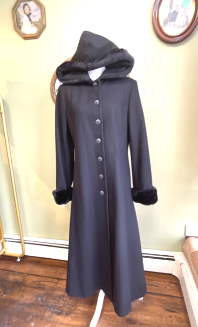 Vintage Donnybrook Coat with Fur Trimmed Hood and Cuffs