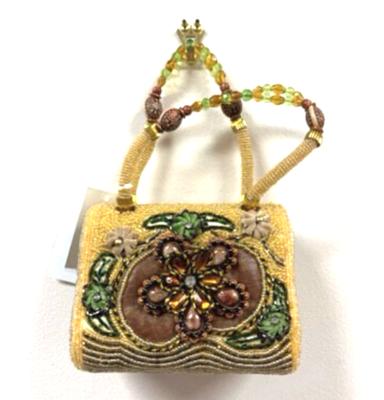 Handmade Green and Beige Beaded Handbag