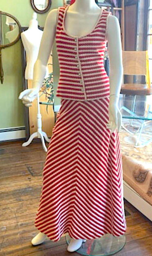 1973 Red & White Knit Summer Maxi Skirt and Top Set