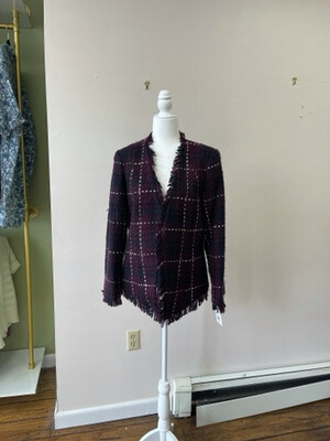 Vintage Fringed Tweed Woven and Lined Blazer, Size12