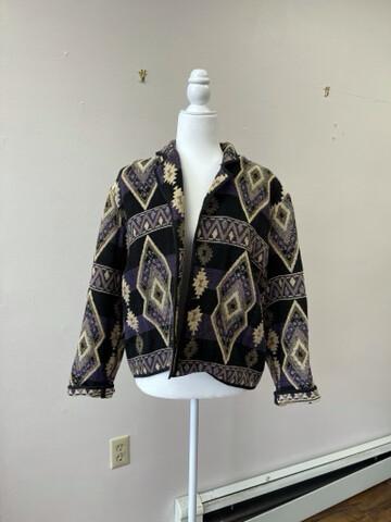 Fiorlini International 100% Cotton Geometric Tapestry Woven Jacket,