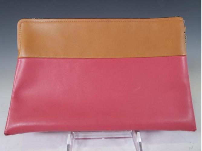 Coach® Borough Retro Loganberry and Tan Color-block Boarskin Clutch Bag, NWT