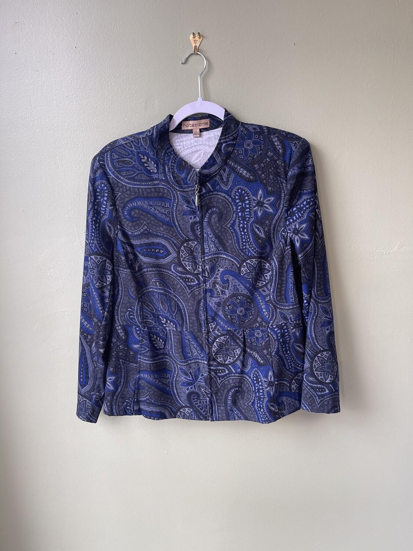 Notations Blue Paisley, Front-zip Jacket, Size L