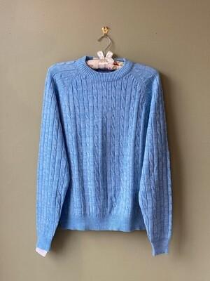 Vintage Blue Acrylic Sweater, The Ivy League, Size L