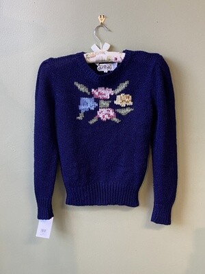 Blue Acrylic Flower Sweater by erika, Size M Flowers
