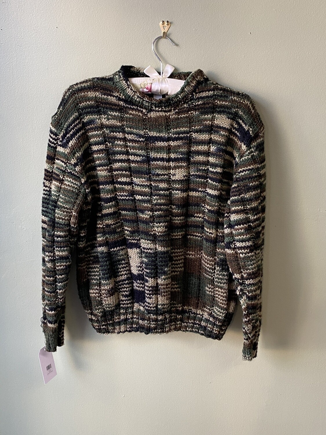 Black and Tan Sweater with Drop-shoulders