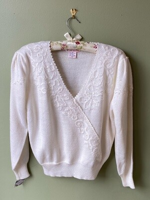 Jaclyn Smith Embroidered White Sweater, Size L