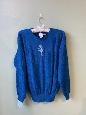 Vintage Pykettes Blue Sweater with Bouquette and Pierced Sleeve Knit, Estimated Size M