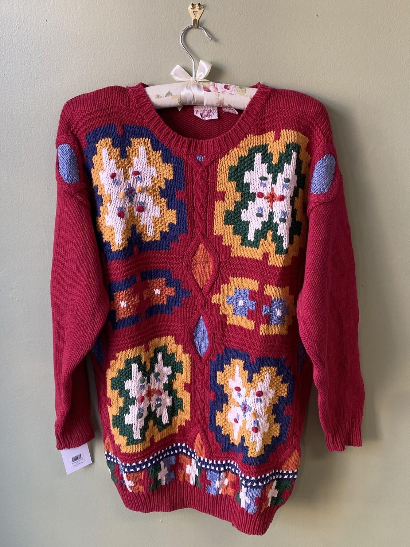 Vintage Huntington Ridge Ruby Sweater with Flowers, Size M