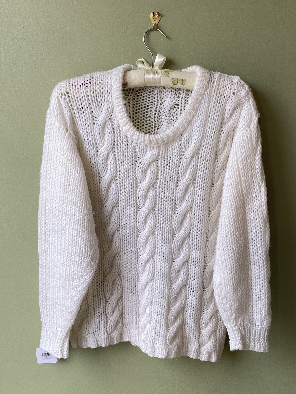 Handmade White Sweater, Estimated Size S/M