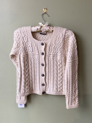 Irish Button-front 100% Wool Sweater with Scalloped Placket, Size XS