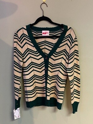Vintage R2 Zig-zag Black and Tan Sweater, Size 13