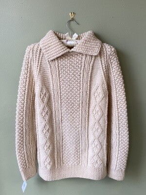 Hand-knit Mitchell's 100% Wool Irish Pull-over Sweater, Estimated Size M