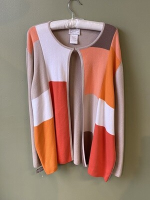 Designers ORIGINALS Cotton Sweater with Color-block Front and Single-Color Back, Size XL