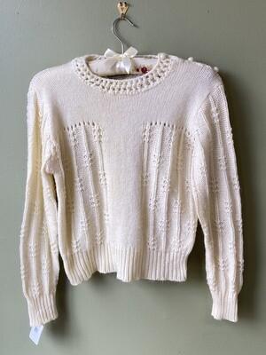 Bobbie Brooks Sweater w/Crochet-look Collar, Size L
