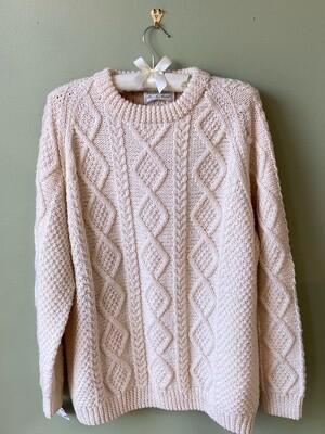 An Irish Traditional Brand Herringbone 100% Wool Sweater, Estimated Size M/L