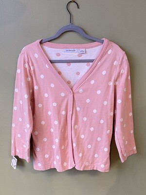 Famous Maker (LC) 100% Cotton, Pink Button-Front Cardigan with White Polka Dots and 3/4-length sleeves, Size M