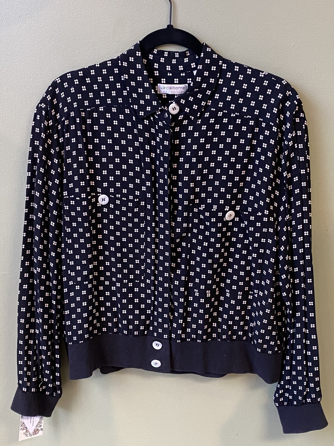 Famous Maker (LC)  Light-weight Black Jacket with White Geometric Dots, Size 12