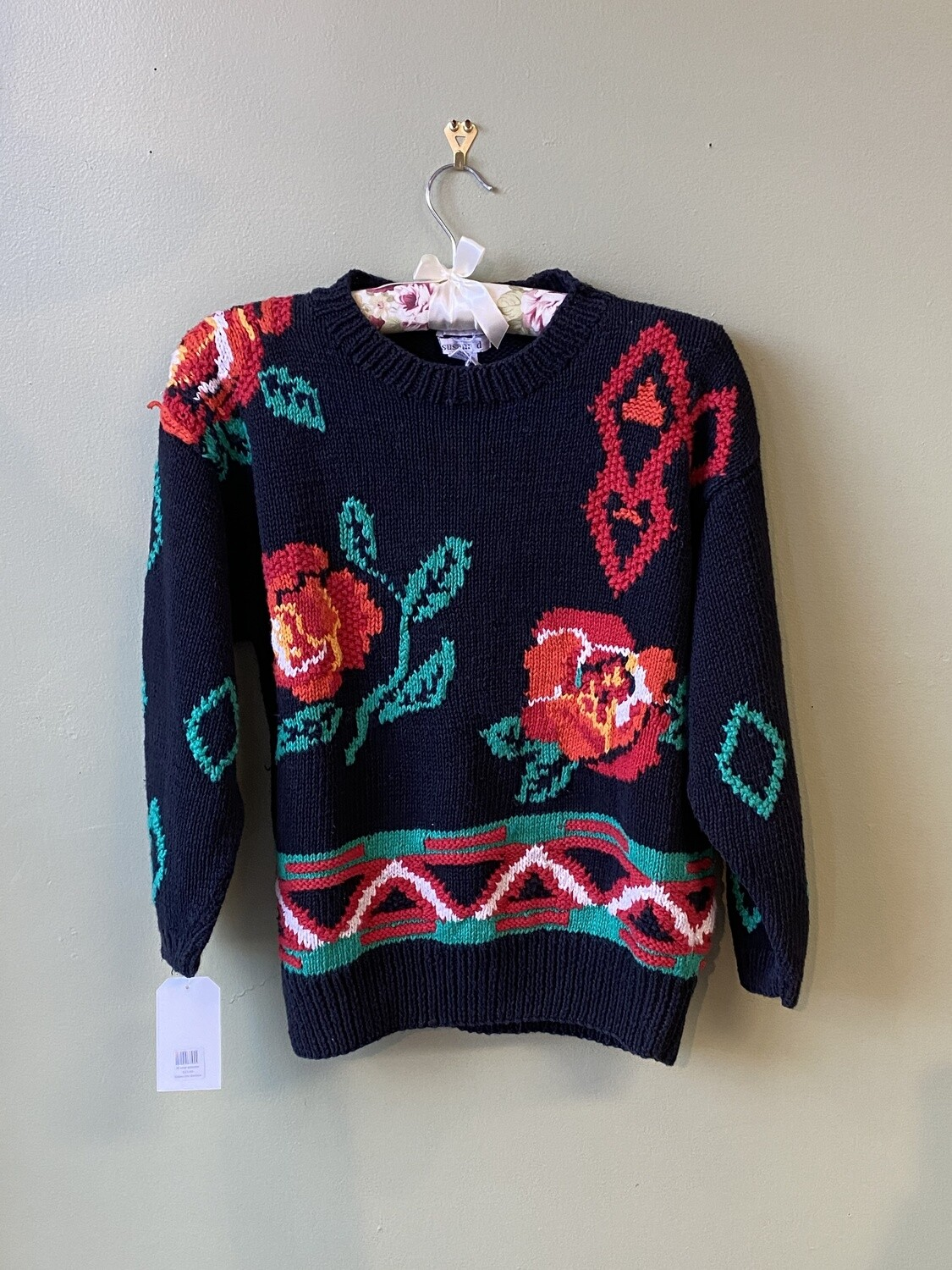 Susann D. Handknitted, Cotton-blend, Navy Sweater with Roses, Size M