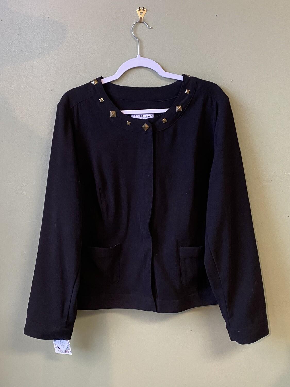 Sag Harbor Stretch Black Shirt with Bronze-tone Studs at Neckline; Size XL