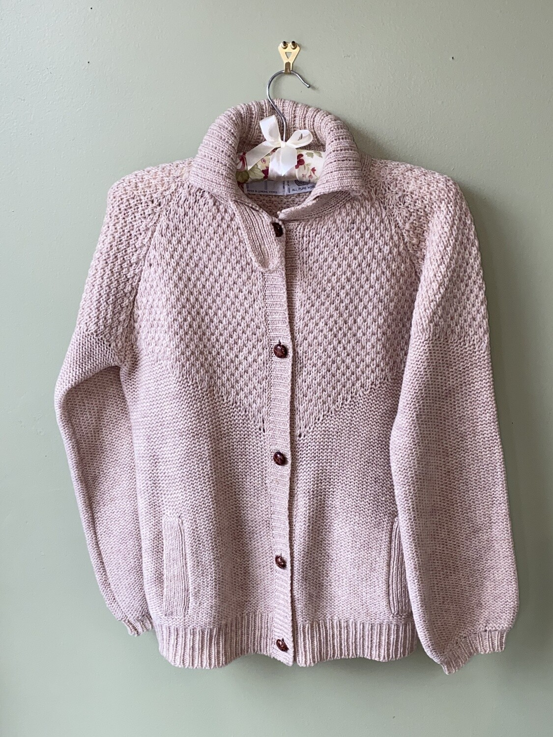 Vintage PGS Pure Wool, Button-Front Sweater, Size M