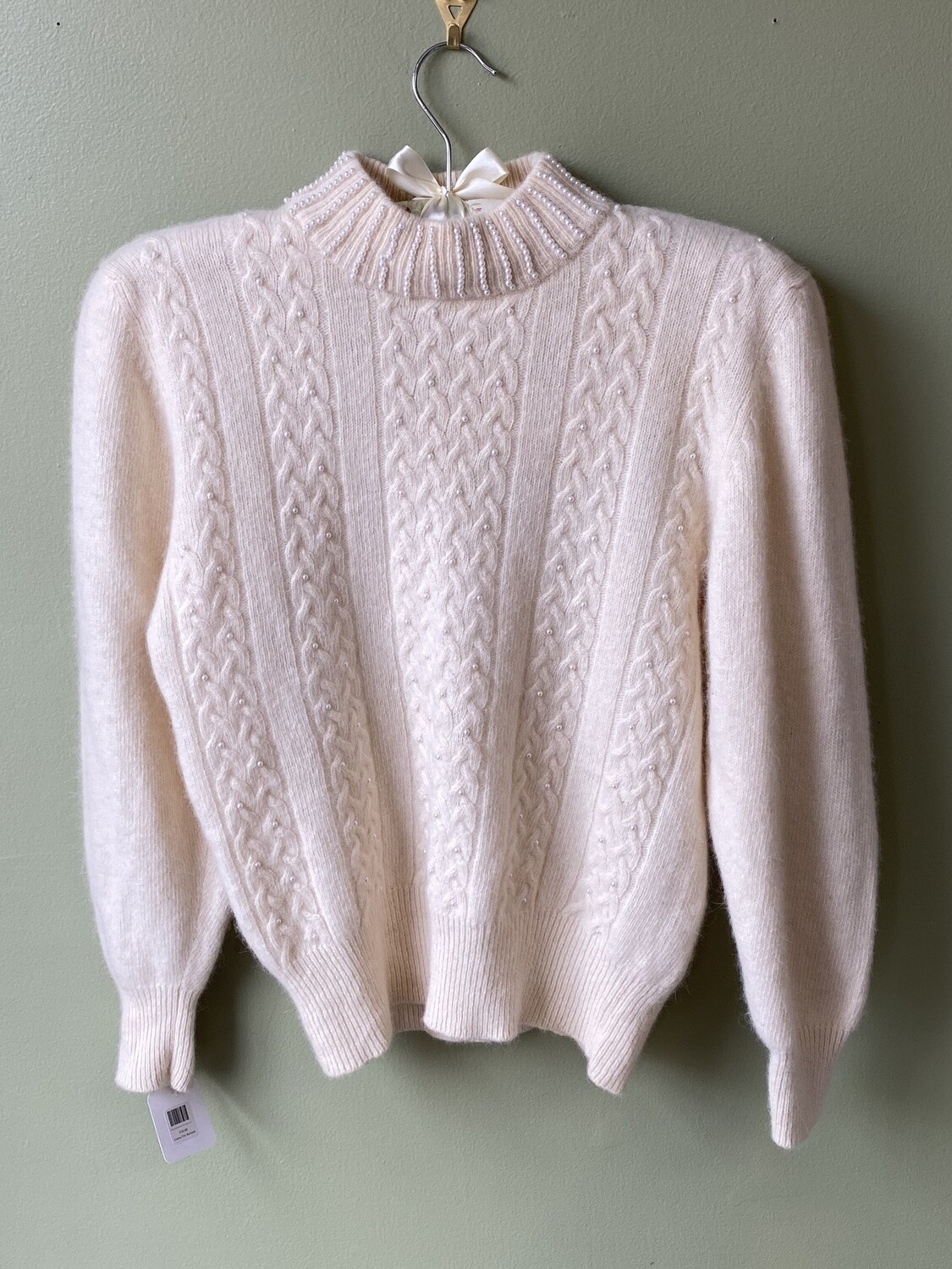 Vintage Neil Martin Lambswool/Angora Blend Sweater w/Pearl-Embellished Collar, Size M