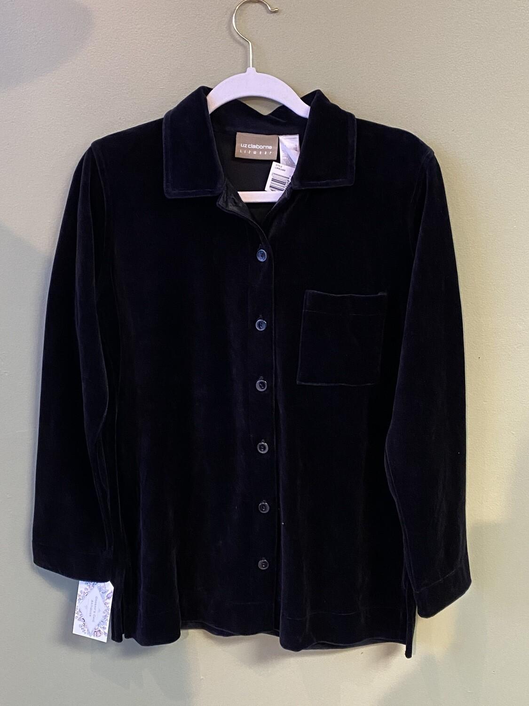 Famous Maker (LC) Black Velvet  Button-front Shirt, Size S