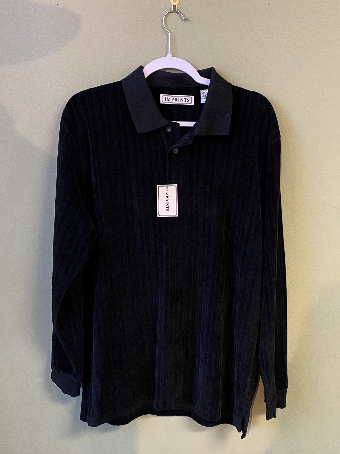 Imprints Cotton-blend Black Polo with Knit Collar and Long Sleeves, Size M, NWT