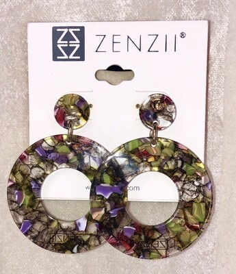 Zenzii Tortoise-shell-look Earrings with Circular Cut-out Silhouette