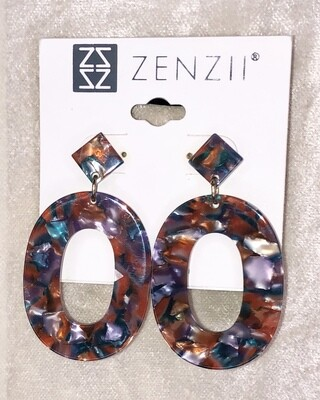 Retro-tortie Zenzii Earrings Oval with Cut-out Silhouette