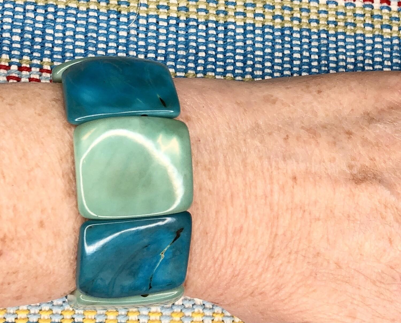 Turquoise Combo, Natural Tagua Nut Elastic Bracelet