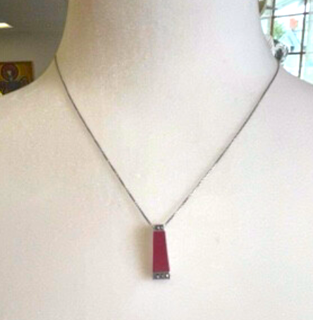 Trapezoid Red Pendant Set in Silver