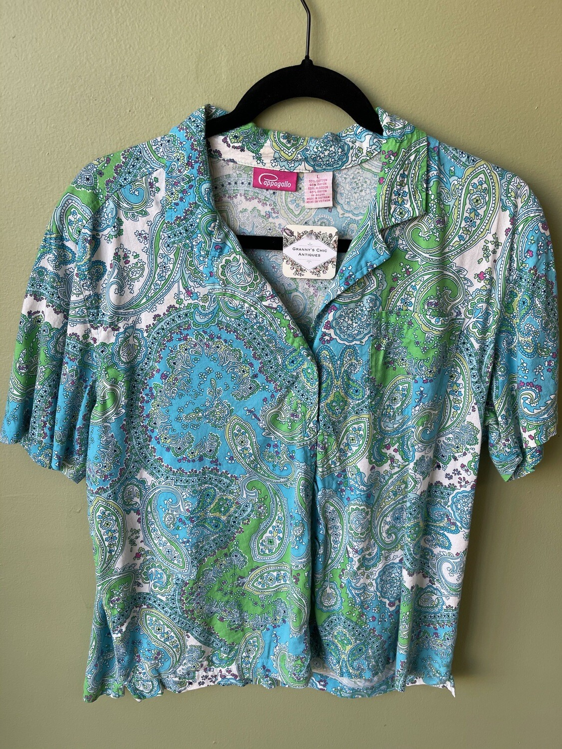 Pappagallo Green and Turquoise Paisley Camp Shirt, L