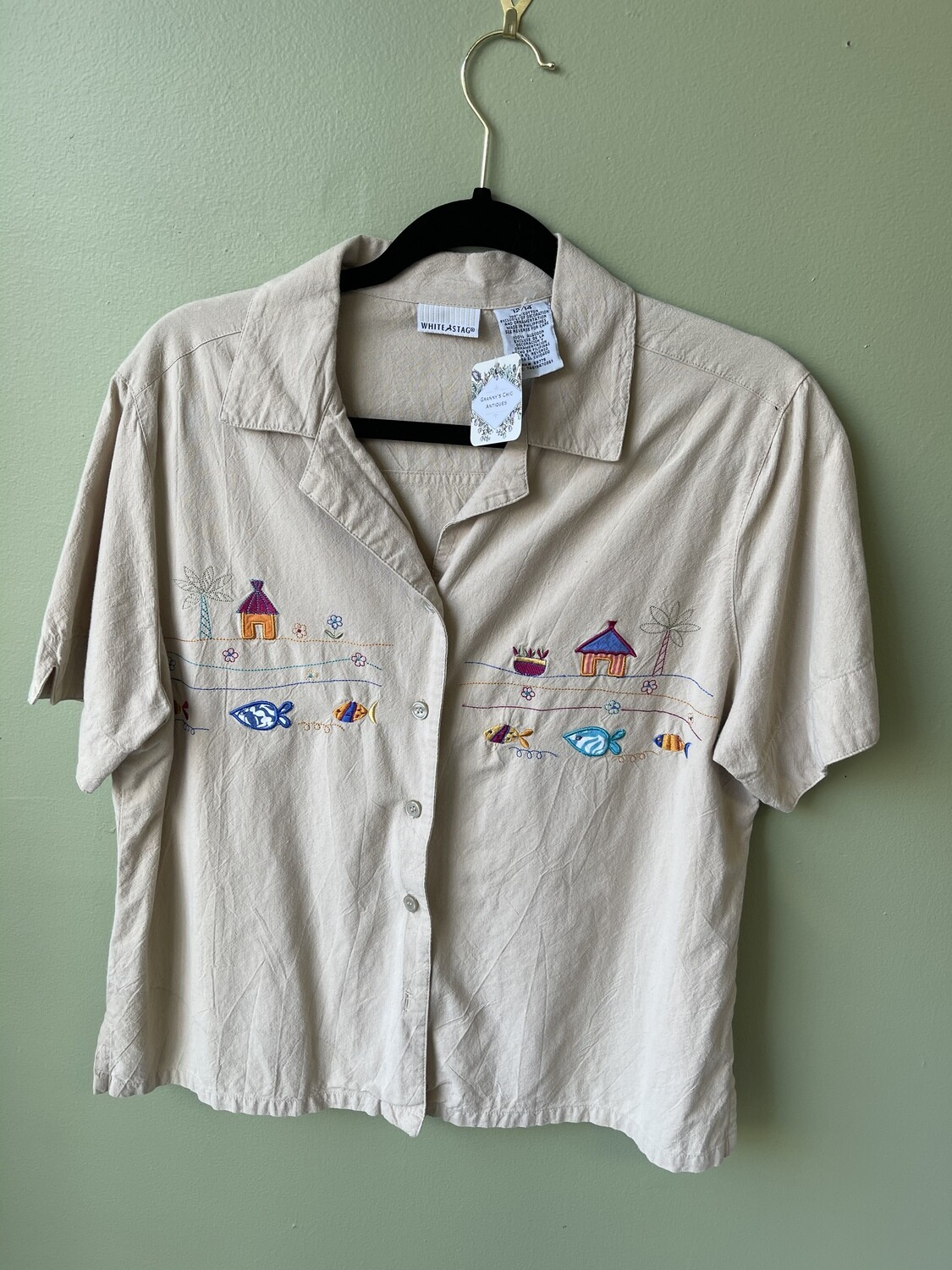 White Stag Embroidered Beachy Camp Shirt, Size L