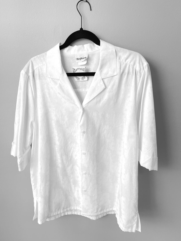 BonWorth White Daisy-embroidered  Shirt, Size L