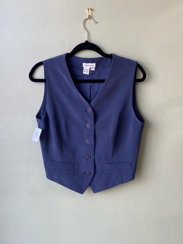 Ann Taylor Sapphire Blue Silk Vest, Size 8