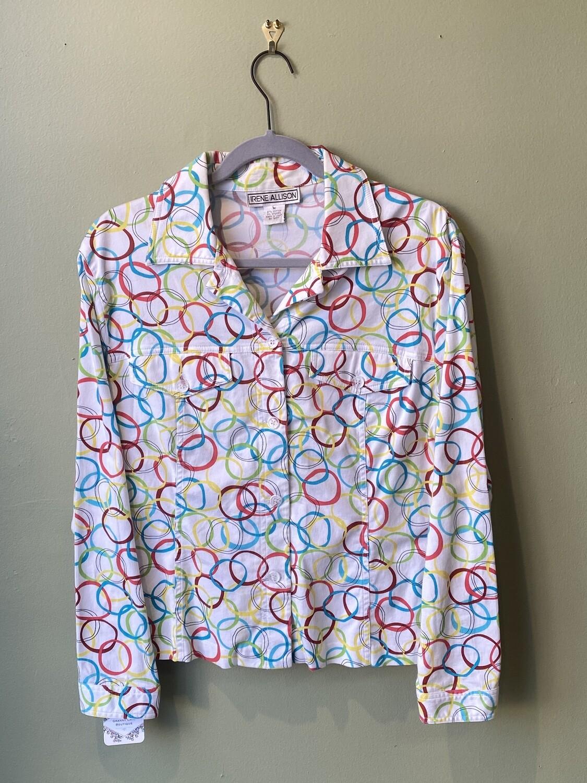 Irene Allison Circle Print Shirt, Size M