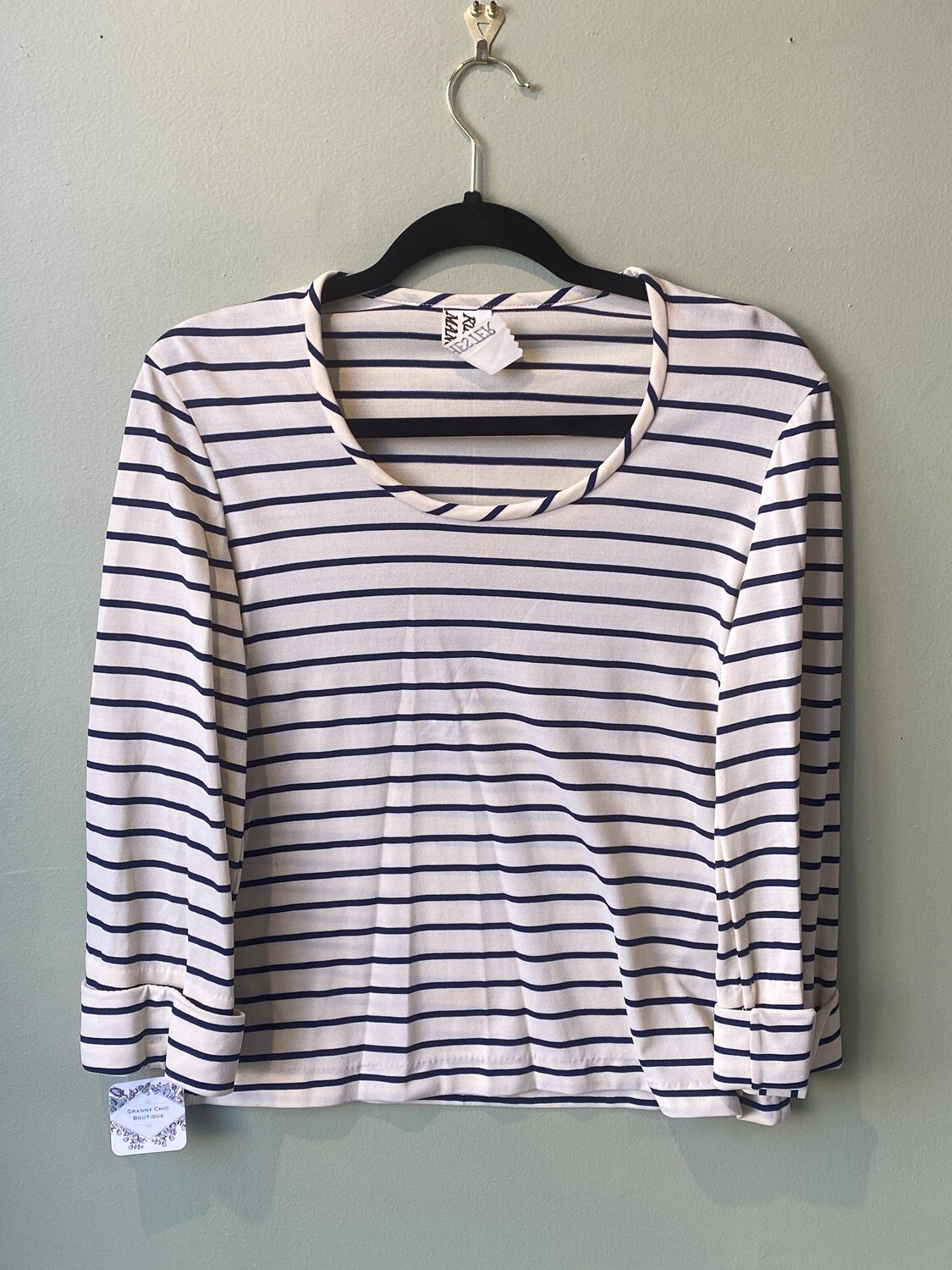 Vintage Ruth Manchester Striped Knit Shirt with Scarf, Size S