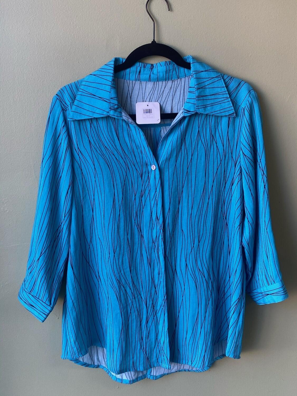 Fridaze 100% Linen Blue Shirt, Size XS