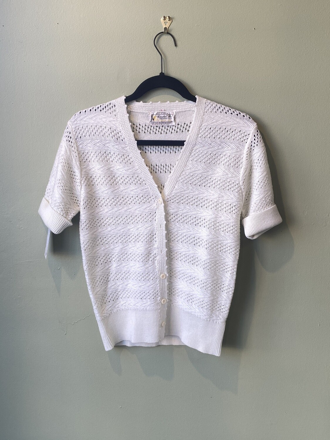 Sweater Bee Button-front Sweater, Size L