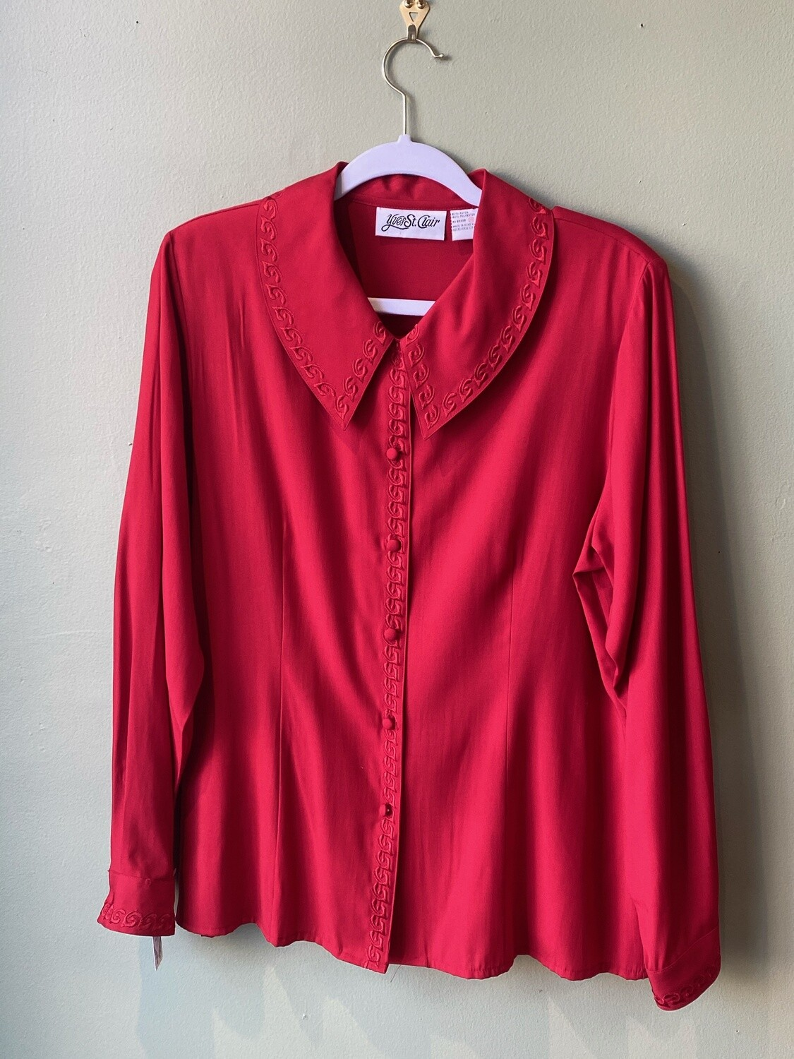 Vintage 70's Yves St Clair Red Blouse, Size 16