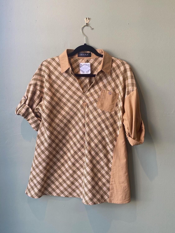 Gracila Plaid/Color-block Retro RE-Chic Shirt, Size XL