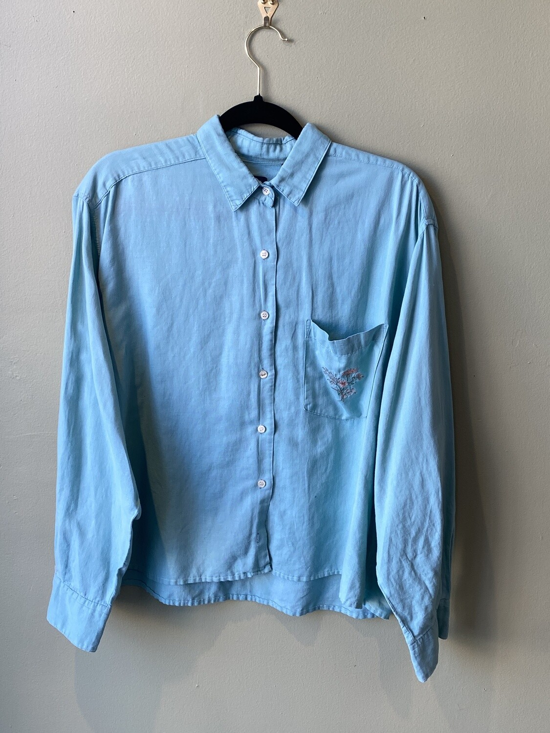 Gap Camp Shirt w/Floral Pocket Embroidery